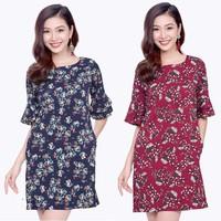 Đầm Suông Họa tiết Hoa tay lỡ dễ thương ZK721