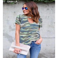 áo thun nữ rằn ri  Mã: AX3177 - XANH LÁ
