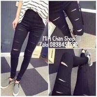 Quần jean đen rách