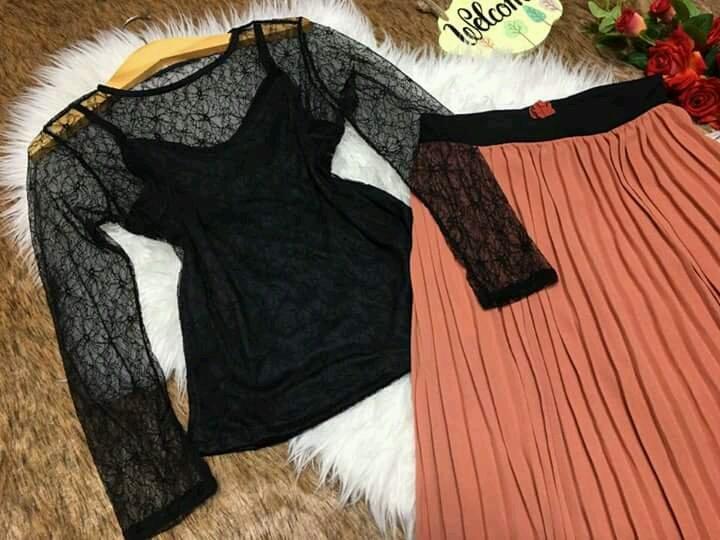 Set áo phối ren chân váy dập ly SET028