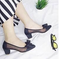 giày gót vuông nơ lưới