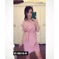Đầm Cổ Sơ Mi Thắt Eo Quảng Châu