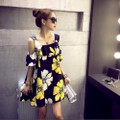 Đầm suông đen họa tiết hoa vàng nhẹ nhàng từ nhà ra phố-119