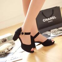 Giày Sandal cao gót đế vuông cao cấp