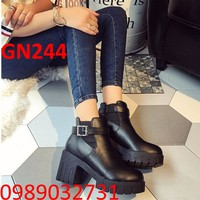 Giày bốt nữ gót vuông Hàn Quốc NEW 2017 - GN244