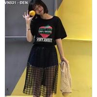 Chân váy midi xuyên thấu caro Mã: VN531 - ĐEN
