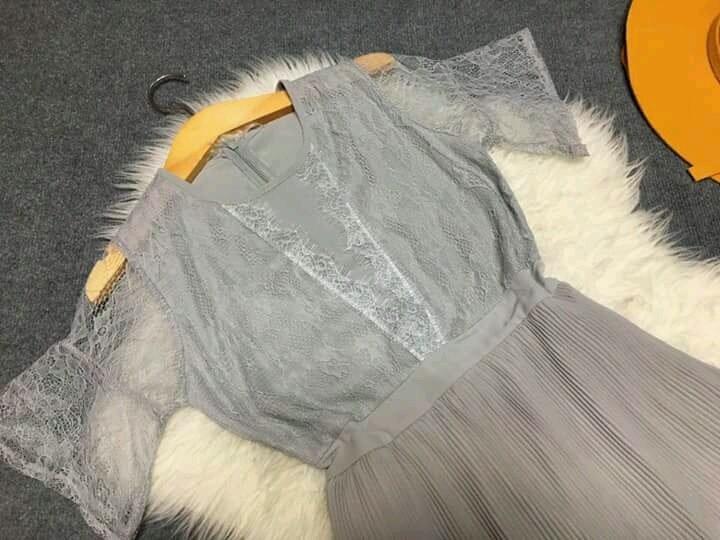 Đầm xòe dập ly thân trên phối ren D164