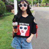 ÁO THUN TAY XẺ LOVE YOU Mã: AX3207 - ĐEN