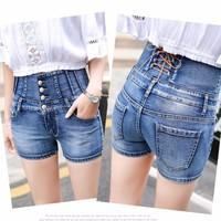 quần shorts jean cạp cao phong cách