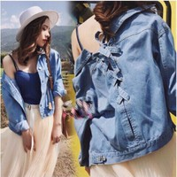 Áo khoác jean nữ cách điệu kute