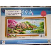 Tranh thêu chữ thập phong cảnh mùa xuân 6069-168x75cm