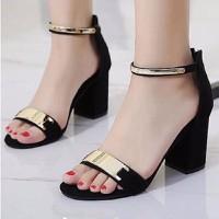 Giày cao gót hở mũi đế vuông phối viền vàng