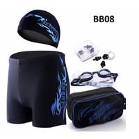 Combo 5 sản phẩm quần mũ và kính bơi bịt tai và túi nam