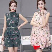 Bộ quần áo nữ: Quần short + Áo form rộng in hoa