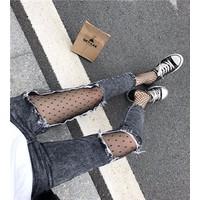 quần skinny dài phối lưới Mã: QD1496