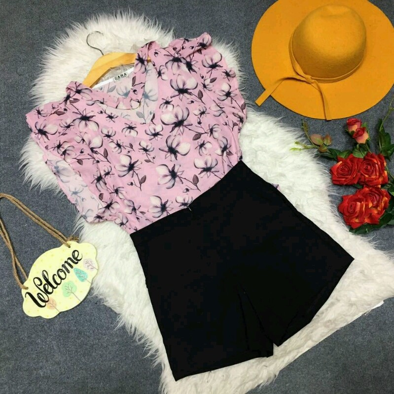 Set bộ áo tay bèo và quần short SET039