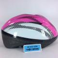 Mũ bảo hiểm xe đạp trẻ em Bigone hồng kẻ