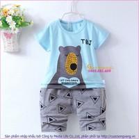 Bộ quần áo bé trai mùa hè in gấu GLSET035