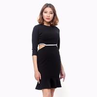 Đầm tay dài cut out phối viền màu đen