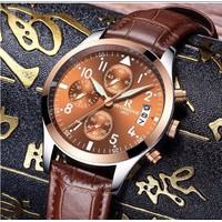 Đồng hồ nam dây da 6 kim Ontheedge kim dạ quang