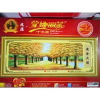 Tranh thêu chữ thập rừng cây lá vàng 6183 - 165x83cm