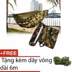 Võng dù vải màu bộ đội dã ngoại + Tặng dây võng 6m