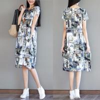 Đầm suông họa tiết D7043