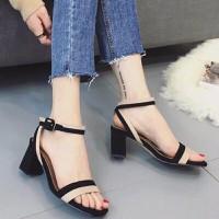 Giày sandal cao gót đế vuông phối màu