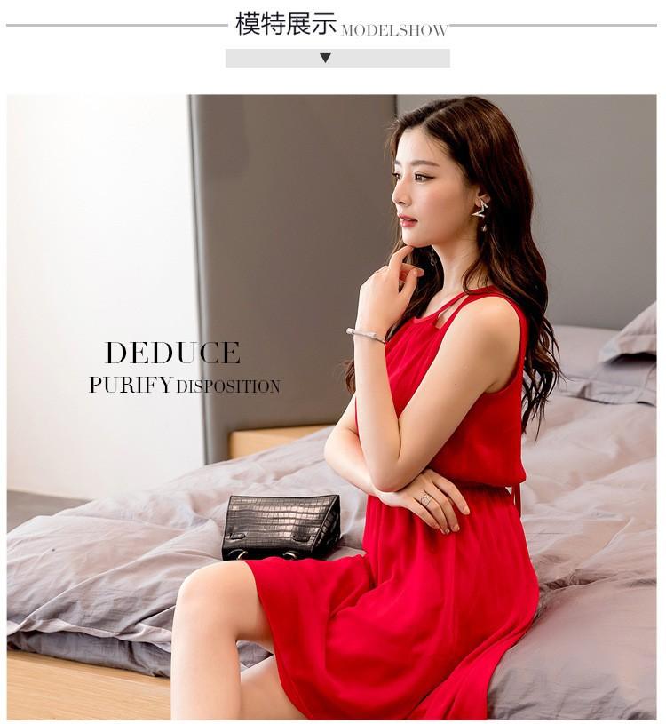 Keng Fashion - Nhà cung cấp mẫu đầm xòe voan đỏ hai dây xinh xắn