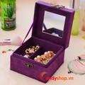 Hộp trang sức vải nhung v3 - hộp nữ trang candyshop88.vn