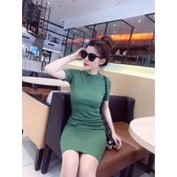 Đầm thun gân body xanh
