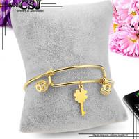 Vòng tay nữ inox phụ kiện chìa khóa may mắn màu vàng đẹp giá rẻ
