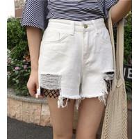 quần short jeans rách phối lưới Mã: QN774 - TRẮNG