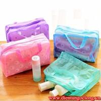 Bộ 2 túi đựng mỹ phẩm trong suốt nhiều màu