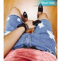 Quần shorts nam rách xanh nhạt MS589