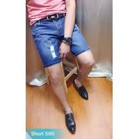 Quần shorts jeans nam rách xanh đậm MS595