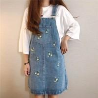 Váy yếm Jean ngắn thêu hoa