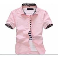 Áo Sơ mi ngắn tay màu hồng phấn Miễn phí ship khi mua 2 cái