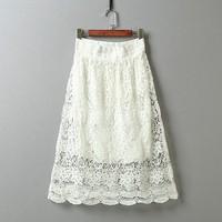 Chân váy ren lón thun trắng