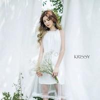 Đầm suông trắng cổ yếm phối lưới cực đẹp
