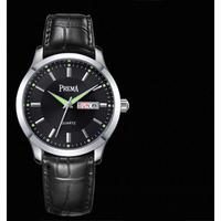 Đồng hồ nam dây da đen 2 lịch chống nước, dạ quang