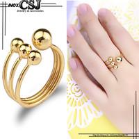 Nhẫn inox nữ inox cao cấp kiểu 4 bi đẹp chất lượng màu vàng gold
