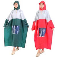 Combo 2 áo mưa 1 đầu có kiếng đèn màu xanh lá và đỏ