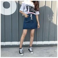 Chân váy jean ngắn cột dây 01 cao cấp