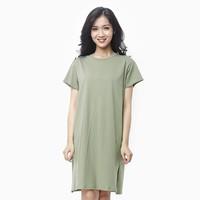 Đầm thun nữ oversize thoải mái màu rêu M2