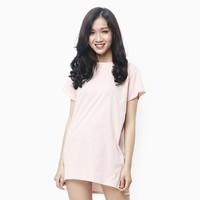 Đầm thun nữ oversize thoải mái màu hồng