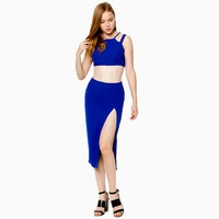 Set áo crop top phối váy xẻ tà màu xanh