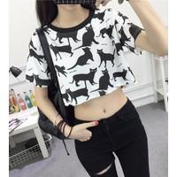 áo thun crop top con mèo Mã: AX3188 - TRẮNG