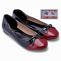 Giày nữ Huy Hoàng đế bệt màu đen phối đỏ