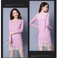 Đầm suông len phối ren cực xinh DS2518 - Hàng nhập loại 1